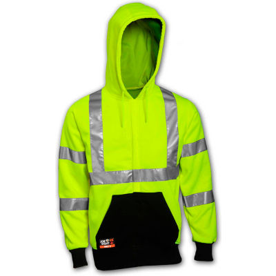 Tingley® Class 3 FR Hi-Vis Hooded Sweatshirt, Fluorescent Yellow Green/Black, 2XL