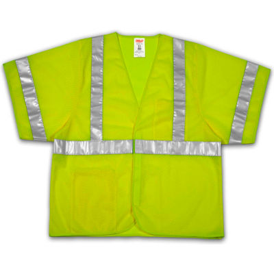Tingley® V70022 Job Sight™ Class 3 Vest, Fluorescent Lime, Polyester Mesh, S/M