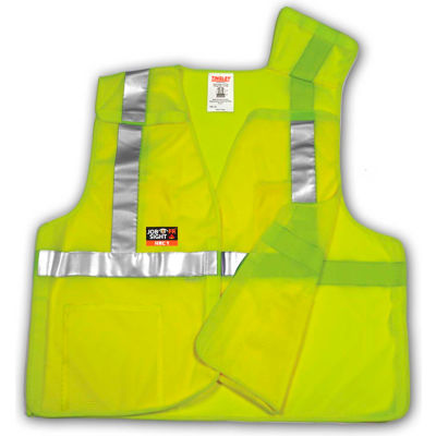Tingley® V81522 Class 2 Flame Resistant 5-Point Breakaway Vest, Fluorescent Lime, 2XL/3XL