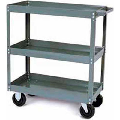 Tri-Boro Heavy Duty 3 Shelf Stock Cart SC2448-3 18 Gauge Steel 48 x 24 with 2-1/4 Lip, 1000 Lb. Cap.