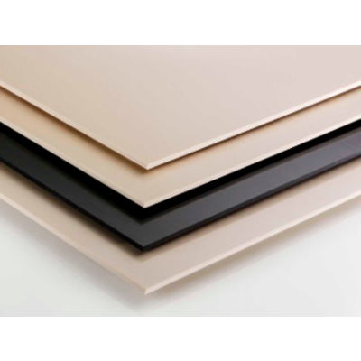 AIN Plastics UHMW Plastic Sheet Stock, 12 in. L x 12 in. W x 4 in. Thick, Natural