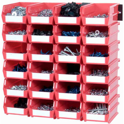 LocBin Wall Storage, 3-210RWS, W/Rails, Small, Red (26 pc)