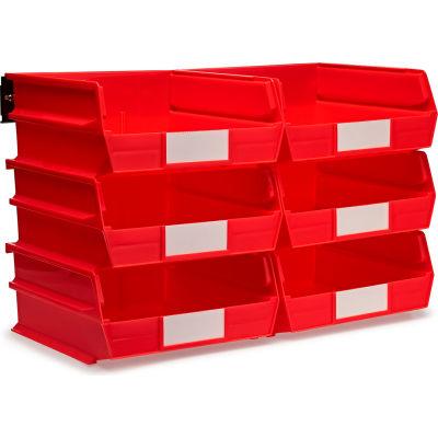 LocBin Wall Storage, 3-235RWS, W/Rails, Large, Red (8 pc)