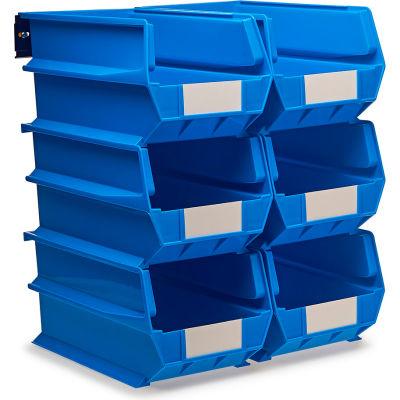 LocBin Wall Storage, 3-240BWS, W/Rails, Large, Blue (8 pc)