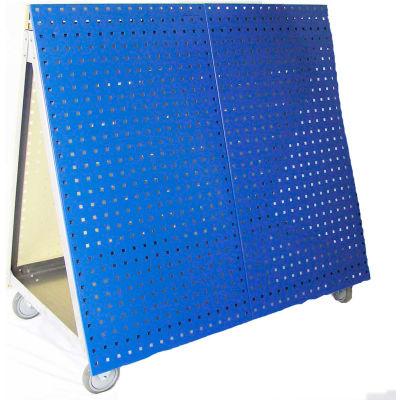 "LocBoard®, LBC-4B, Aluminum Frame Mobile Tool Cart, Blue, 48 ""L x 46 ""H x 26-5/8 ""W"