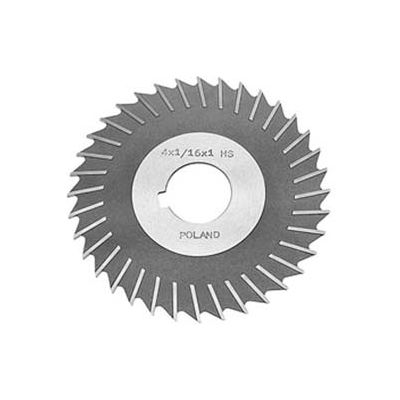 "HSS Import Metal Slitting Saw Plain Teeth, Side Chip Clear, 4"" DIA x 1/16"" Face x 1-1/4"" Hole"