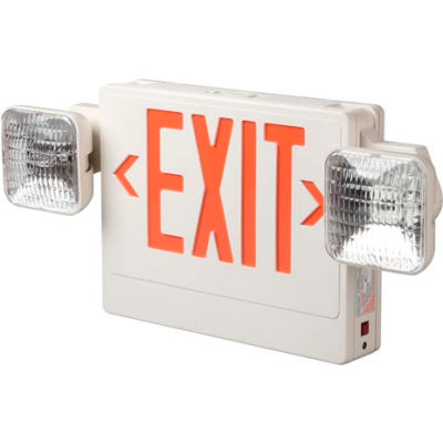 Emergi-Lite ELXN400R2SQLR LED Thermoplastic Combination Unit - White/Red 12W Remote Capacity