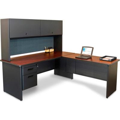 """Pronto Desk with Return, 72""""W x 78""""D Dark Neutral/Slate"""