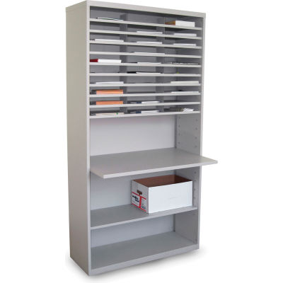 """Marvel® 30 Compartment Mail Sorter with Adjustable Work Surface, 80""""H x 42""""W, Slate Gray"""