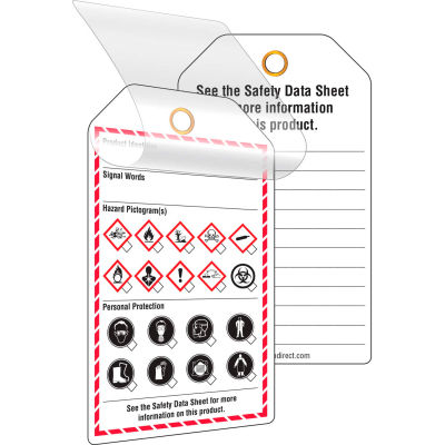 INCOM® GHS1083 GHS Style Self-Laminating Workplace Tags, Printed, 24/Pack