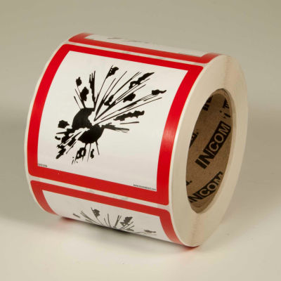 "INCOM® GHS1259 GHS ""Exploding Bomb"" Pictogram Label, 4"" x 4"", 500/Roll"