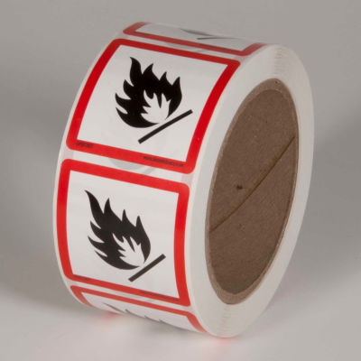 "INCOM® GHS1307 GHS ""Flame Hazard"" Pictogram Label, 2"" x 2"", 500/Roll"