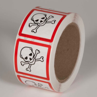"INCOM® GHS1310 GHS ""Skull & Crossbones"" Pictogram Label, 2"" x 2"", 500/Roll"