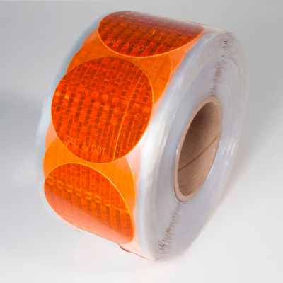 """Reflective Marking Tape, Amber, 3""""Dia. Circle, 50/Roll, RR350AM"""