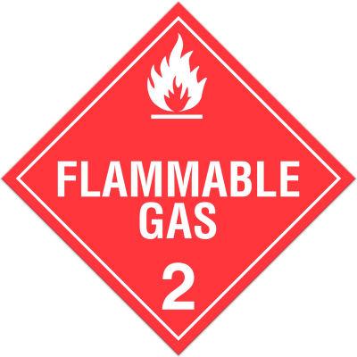 INCOM® TA210PS Class 2.1 Flammable Gases Adhesive Vinyl Placard - 100/Pkg