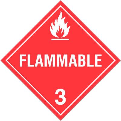 INCOM® TA300PS Class 3 Flammable Liquids Adhesive Vinyl Placard - 100/Pkg