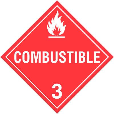 INCOM® TA310PS Class 3 Combustible Liquids Adhesive Vinyl Placard - 100/Pkg