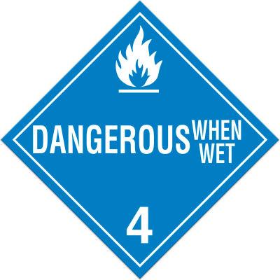 INCOM® TA430SS Class 4.3 Danger When Wet Rigid Plastic Placard - 100/Pkg