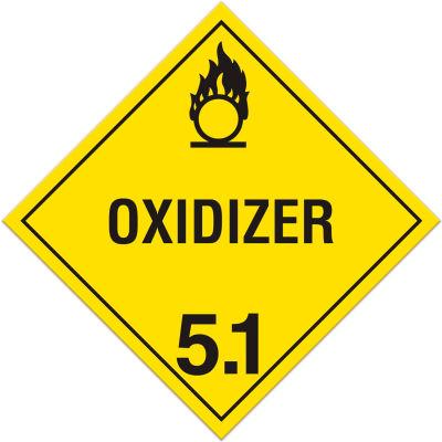 INCOM® TA510SS Class 5.1 Oxidizer Sub Rigid Plastic Placard - 100/Pkg