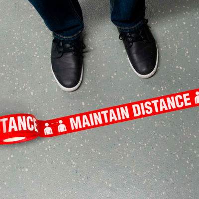 Maintain Distance Message Floor Tape, 2.25'' X 54'