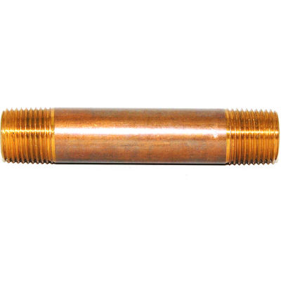 "Trenton Pipe 3/8"" x 4-1/2"" Brass Pipe Nipple, Schedule 80 - Pkg Qty 25"