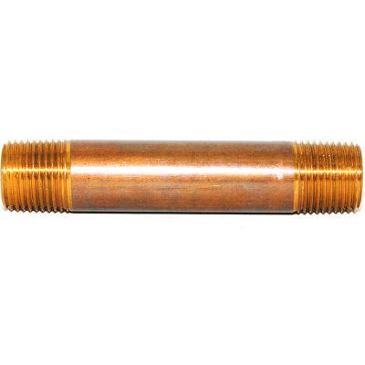 "Trenton Pipe 3"" x 3-1/2"" Brass Pipe Nipple, Schedule 80 - Pkg Qty 5"