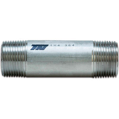 """Trenton Pipe 3/8"""" x Close Seamless Pipe Nipple, Schedule 80, 304 Stainless Steel - Pkg Qty 25"""