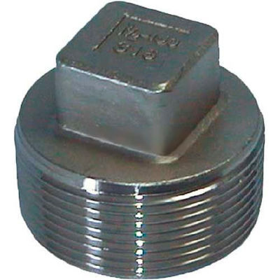 """Trenton Pipe Ss316-67030 3"""" Class 150, Cored Square Head Plug, Stainless Steel 316 - Pkg Qty 5"""