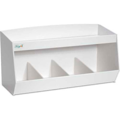 """TrippNT™ White PVC Storage Bin with 4 Compartments and 1 Shelf, 24""""W x 10""""D x 13""""H"""