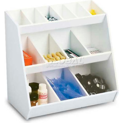 """TrippNT™ White Lab Storage Bin Station with 13 Fixed Compartments, 12""""W x 7""""D x 12""""H"""