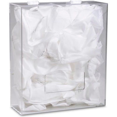 "TrippNT™ Medium Clear Acrylic Apparel/Hairnet Dispenser, 15""W x 6""D x 18""H"
