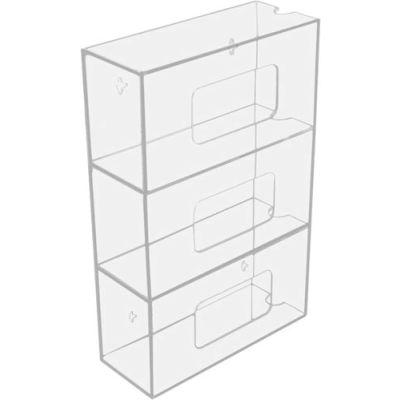 "TrippNT™ 50826 Triple Side Loading Acrylic Glove Box Holder, 10""W x 4""D x 16""H"