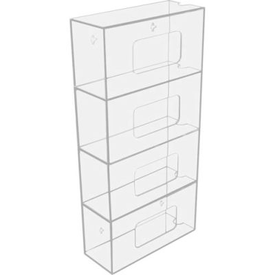 "TrippNT™ 50850 Quadruple Side Loading Acrylic Glove Box Holder, 10""W x 4""D x 20""H"