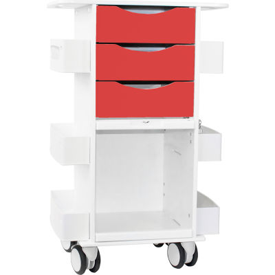 """TrippNT™ Deluxe Medical Cart with Clear Sliding Door, Cherry Red, 23""""W x 19""""D x 35""""H"""