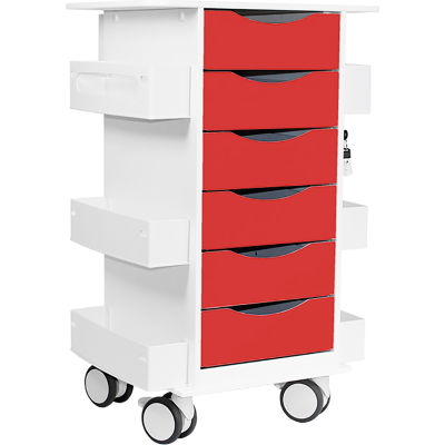 "TrippNT™ Core Locking 6 Drawer Lab Cart, 23""W x 19""D x 35""H, Cherry Red"