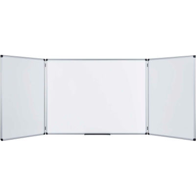 """MasterVision Industrial Trio Magnetic Dry Erase and Cork Bulletin Board Combo Cabinet, 36"""" x 48"""""""