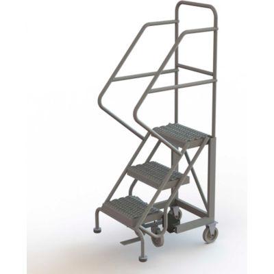 "3 Step 16""W Steel Safety Angle Rolling Ladder, Grip Strut, Gray - KDEC103162"