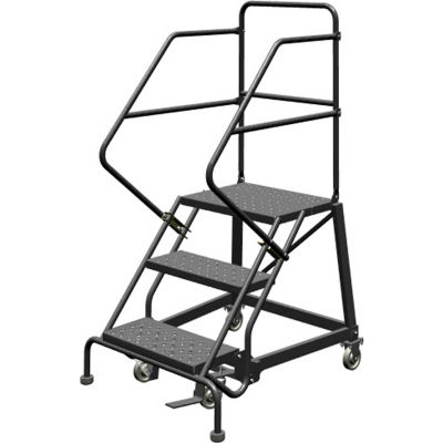 """3 Step 24""""W Steel Safety Angle Rolling Ladder, Perforated Tread, Gray - KDEC103246"""