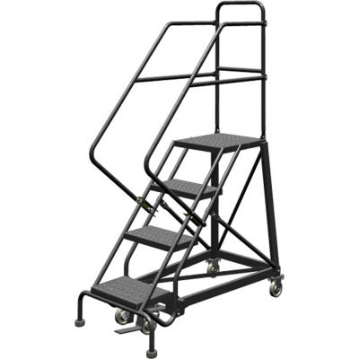 """4 Step 24""""W Steel Safety Angle Rolling Ladder, Perforated Tread, Gray - KDEC104246"""