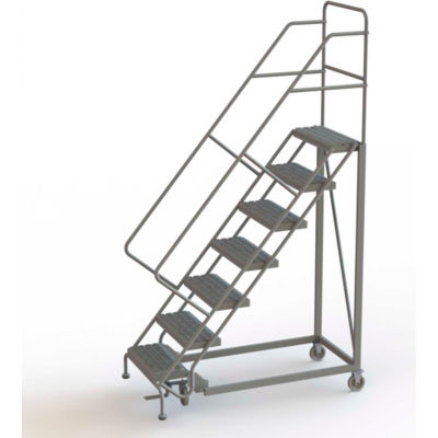 """7 Step 16""""W Steel Safety Angle Rolling Ladder, Perforated Tread, Gray - KDEC107166"""