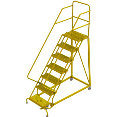 """7 Step 24""""W Steel Safety Angle Rolling Ladder, Grip Strut, Safety Yellow - KDEC107242-Y"""