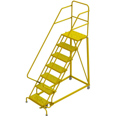 """7 Step 24""""W Steel Safety Angle Rolling Ladder, Perforated Tread, Safety Yellow - KDEC107246-Y"""