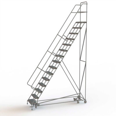 15 Step Steel Easy Turn Rolling Ladder, Serrated Tread, Standard Angle - KDED115242