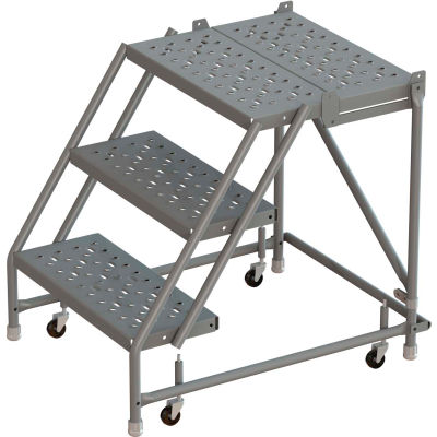 """3 Step 16""""W 30""""D Top Step Steel Rolling Ladder, Perforated Tread, No Handrail - KDSR003166-D3"""