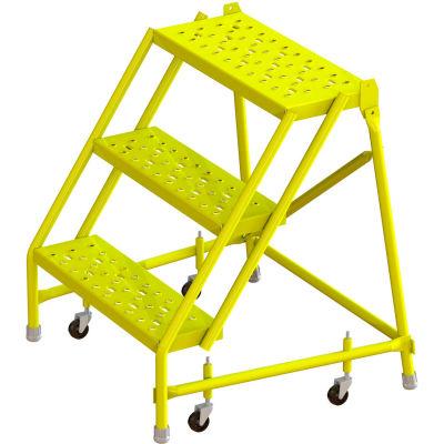 "Tri Arc Perforated 24""W 3 Step Steel Rolling Ladder, 10""D Top Step - KDSR003246-Y"