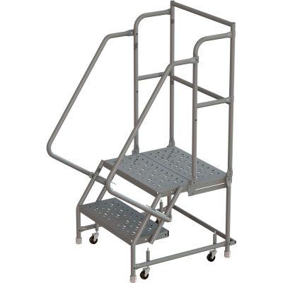 "2 Step 24""W 20""D Top Step Steel Rolling Ladder, Perforated Tread, 36"" Handrail - KDSR102246-D2"