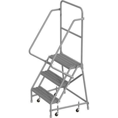 "3 Step 24""W 10""D Top Step Steel Rolling Ladder, Grip Strut Tread, 36"" Handrail - KDSR103242"