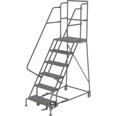"6 Step 16""W 30""D Top Step Steel Rolling Ladder, Perforated Tread, 36"" Handrail - KDSR106166-D3"