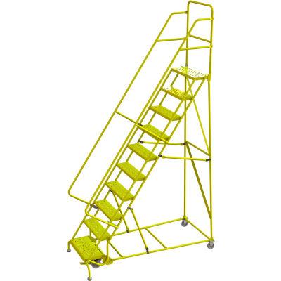 "Tri Arc Perforated 24""W 10 Step Steel Rolling Ladder, 10""D Top Step - KDSR110246-Y"