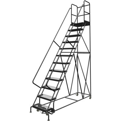"12 Step 24""W 30""D Top Step Steel Rolling Ladder, Grip Strut Tread, 36"" Handrail - KDSR112242-D3"